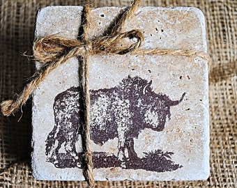 Buffalo Home Decor, Bison Home Decor, Christmas Gift, White Elephant Gift, Set of 4 Coasters