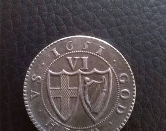 The Commonwealth Of England Sixpence 1651 Restrike Coin