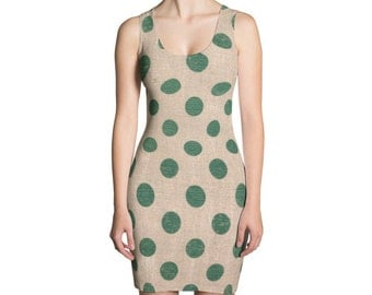 green polkadot  vintage country rustic pencil dress