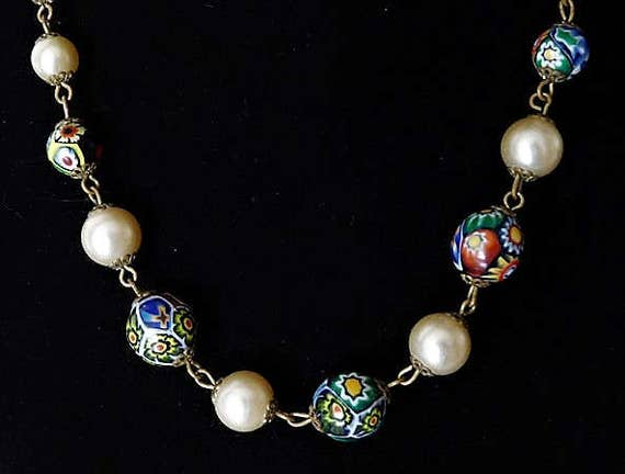 Millefiori Venetian Art Glass Faux Pearl Necklace 1920s 20s Art Deco Italy Italian Murano Glass Beaded Fashion Jewelry Wedding