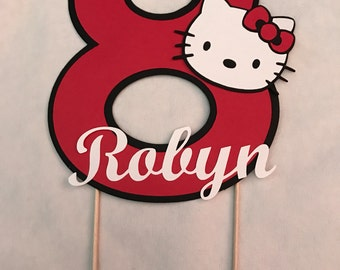 Custom, personalized, Hello Kitty indpired birthday cake topper with age