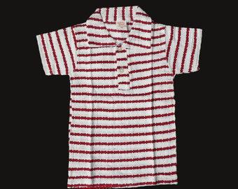 Vintage NOS 70's Cream/Red Striped Pointelle Mod Polo Shirt British Stock 12-18 Months