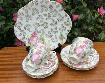 Two Crinoline Lady Trios and Cake  Plate Pink Gilt