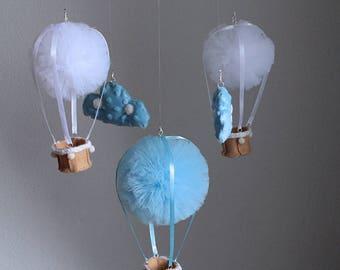 Hot Air Balloon Mobile, Blue Balloon Mobile, Pom Pom Mobile, Nursery Mobile, Nursery Decoration, Crib Mobile, Cot Mobile, White Balloon