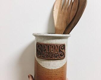 Pottery Utensil Holder / Pottery Spoon Holder / Vintage Utensils Container