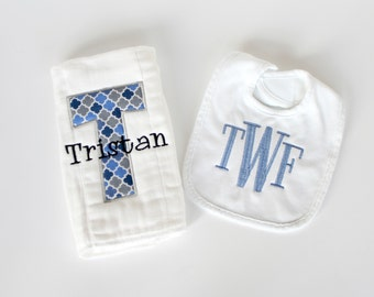 Monogrammed Bib and Burp Cloth Set - Personalized burp cloth and bib set - Other Colors Available