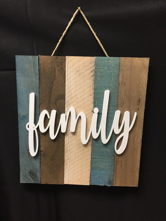 Items similar to Family word script sign. Painted wood ...