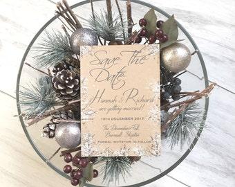 SAMPLE Winter Wedding,Winter Save The Date,Christmas Wedding Save the Date Card,Save the date Invitations,Save the Date Card,Snow Wedding,