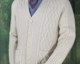 Vintage Hand Knitted  Cream Wool Aran Cardigan  Size L