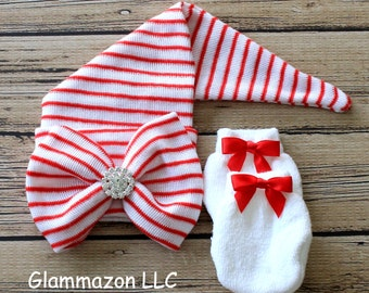 Infant newborn baby girl ELF hat cap hospital beanie first bow big bowknot rhinestone center mittens set Red