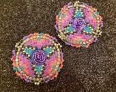Native American Beaded Earrings, Colorful Beaded Earrings, Rose Beaded Earrings, Ojibwe Beadwork, Seed Bead Earrings, Regalia