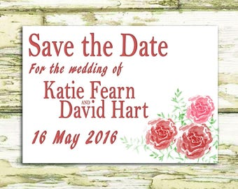 Printable Save the Date / Watercolour flowers / Custom Made Invitations