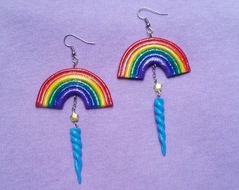 Glitter Rainbow Unicorn Horn Earrings