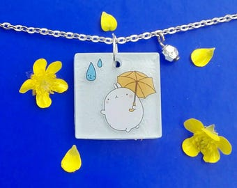 Molang pendant necklace with umbrella