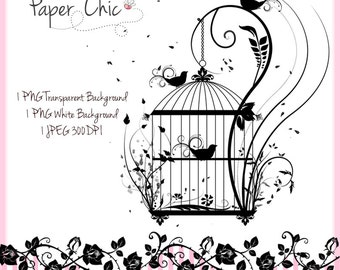 Birdcage Flourish PNG Clip Art Commercial Use Instant Download