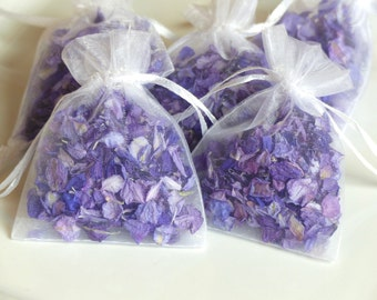 Real flower petal wedding confetti!  Dried purple flower confetti in organza bags, ready for your guests to throw!