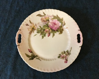 Vintage Victoria Austria China Double Handled Hand Painted Pink Roses Plate