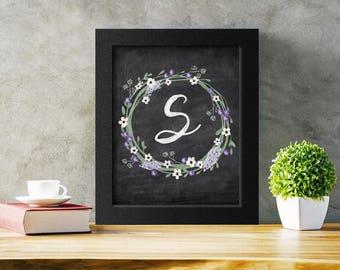 Letter S Monogram Printable, Decorative Letter Nursery Wall Decor, Alphabet Wall Art, Instant Download Letter Poster