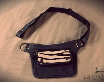 Belt Pocket black leather, Zebra