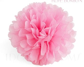 Rose Bonbon - Rose Pink Tissue Paper Pom Poms - Wedding Party Decorations - Baby shower Decorations
