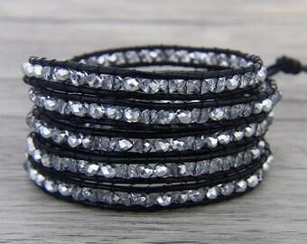 crystal Waps Bracelet 5 Row wrap Bracelet White Glass Beads Bracelet 5 Wrapped BOHO Bracelet Gypsy Beaded Bracelet BOHO Jewelry SL-0457