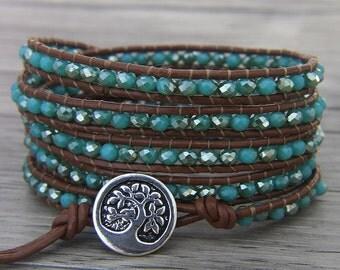 BOHO 5 rows wap glass bracelet boho leather bracelet AB crystal beaded bracelet gypsy wap bracelet Ocean blue bracelet Jewelry SL-0445