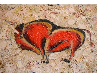 """Oil fingers painting 24*16"""" Bison, cave original painting, palaeolithic, modern painting, Altamira, red bison, modern art, buffalo, ox, bull"""