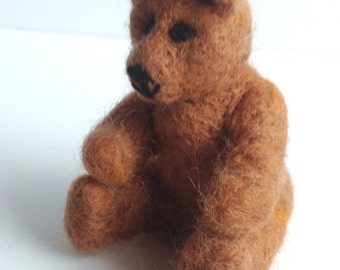 """Needle Felted Teddy Bear, """"Ronnie the baby bear"""", Animal , Collectable, Wildlife, Sculpture, Gift for her, gift for him,"""