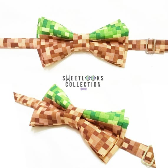 Pixel Bow Tie Or Hair Bow. Green And Brown Neck Tie. Unique