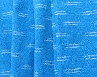 Sky Blue And White Ikat Fabric By the Yard