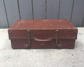 Vintage Suitcase; Revelation Expandable Suitcase; Vintage Revelation Suitcase; Brown Luggage; Hardboard Suitcase; Expandable Suitcase