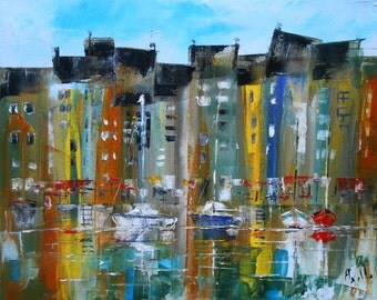 "Modern Painting ""The small Port of Honfleur"""
