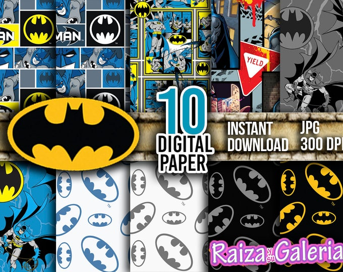 AWESOME Batman Paper. Instant Download - Scrapbooking - DC Comics Printable Paper BATMAN