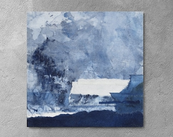 small abstract, navy blue, home decor, blue abstract, set of 3, 10x10 painting,monochrome painting.textile art