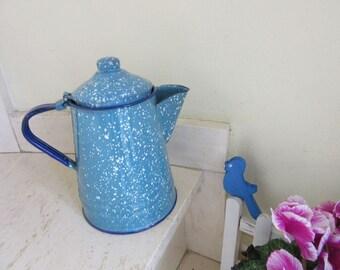 French ENAMEL COFFEE POT turquoise/white vintage retro