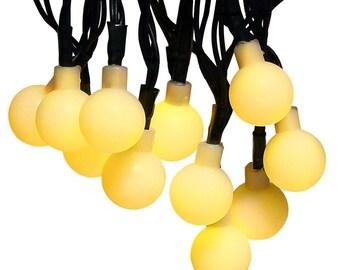 Daily Deals!!! 50LEDs Globe Ball Lights Solar Powered Outdoor String Lights, Waterproof Globe Ball Lights (Warm White)