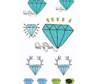 Diamonds & Mustache - Temporary Tattoos // Fun // Hipster // Summer // Party // Gifts