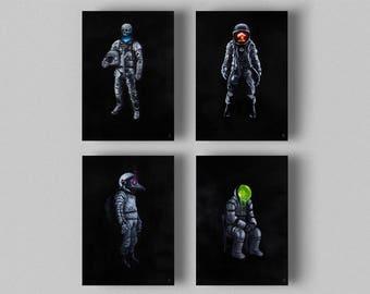 Science Fiction set of 4 posters, Poster set, Space print, Space art, Original art, Wall art print, Astronaut, Fine Art, Giclee Print