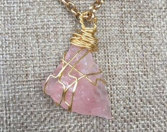 Rose Quartz Crystal Wire Wrapped Pendant, Natural Stone Necklace, Gold Wire Wrap Jewelry