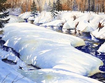 No. 21, Giclée, watercolor, watercolor, winter, River, snow, snow