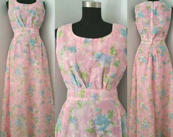 On Sale| Beautiful 60s Pink Floral Print Sheer Maxi Dress