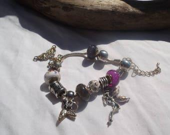 Bracelet Pandora style glass and metal beads