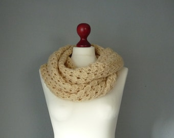 Hand knitted double-wrap cowl, cream infinity scarf, snood, loop scarf, neck warmer.