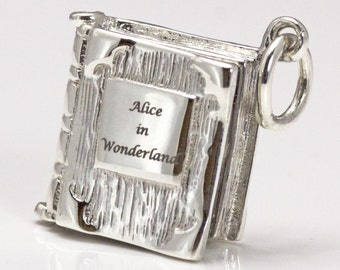 Book Charm Locket / Pendant - Solid 925 Silver - Alice in Wonderland - Who In the World am I? Adventrues - Lewis Carroll, Book Lover Gift