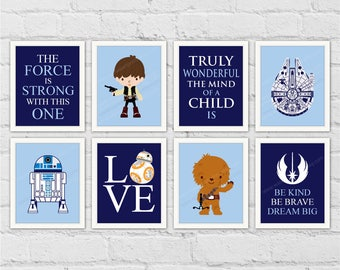 Star Wars Boy Nursery Decor. Han Solo Chewie R2D2. The Force Is Strong With This One. Navy Boy Room Decor. Set of 8 Prints. Item No.: 339