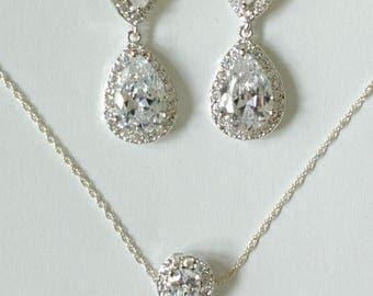 Silver Bridesmaid Jewelry Set, Silver Bridal Set, TearDrop Necklace, Cubic Zirconia Crystal Bridesmaids Gifts, MP1