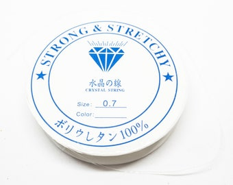 Strong And Stretchy- 0.7mm Clear Stretch Single Fibre Cord. Approx 12m.