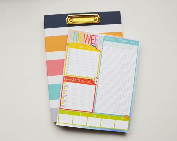 Clipfolio with Weekly Classroom Planning Notepad