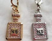 No. 5 Perfume Bottle Charm - Gold or Silver - Clip-On - Ready to Wear
