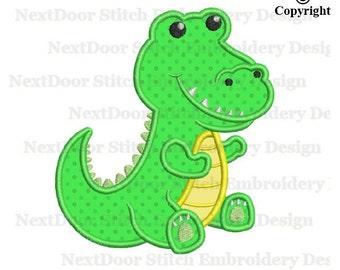 Alligator applique design, little sitting crocodile machine embroidery design,  croco-002